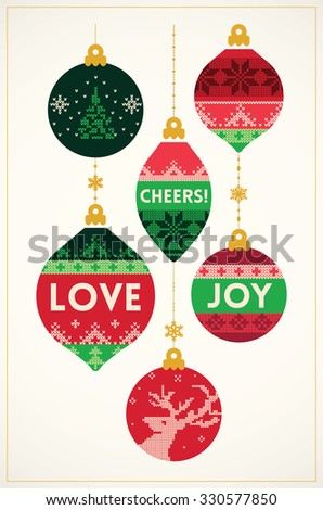 Knitted balls Christmas card in vintage style. Vector illustration - stock vector