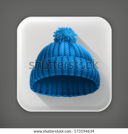 Knitted blue cap, long shadow vector icon - stock vector