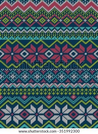 Knitted bright seamless winter holiday pattern with stylized nordic sweater ornament. Clothing design. Vector illustration.