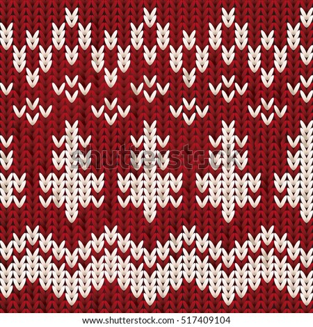 Knitted Christmas and New Year pattern with snowflakes , vector illustration