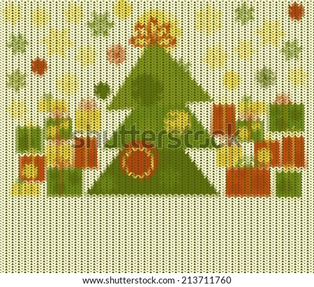 Knitted Christmas pattern, vector  background