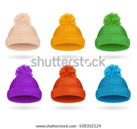 Knitted Color Hat Winter Set Fashion Accessory. Vector illustration of sport ski snowboarding cap