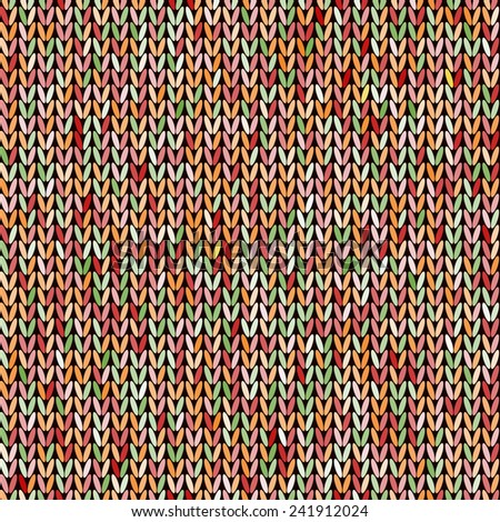 Knitted colorful melange seamless pattern. Multicolor knitting abstract background. Amazing knit texture.