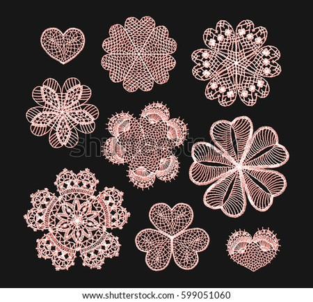 Knitted Flower Mandala Crochet Doily Black Stock Vector 599051060 ...