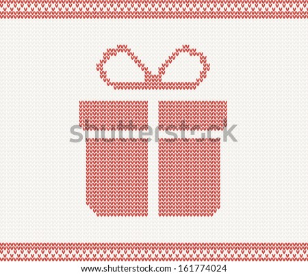 Knitted gift box. vector illustration in Norwegian style. Christmas concept for banner, placard, billboard or web site. New Year retro greeting card and background. Image for invitation
