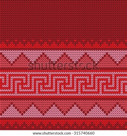 knitted Greek seamless pattern - stock vector
