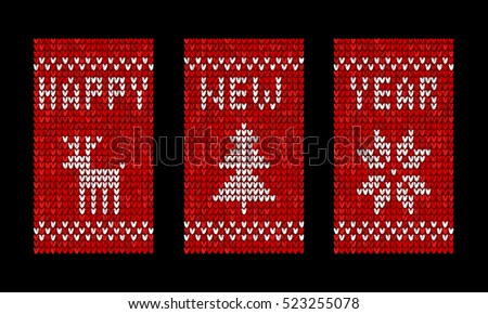 Knitted happy new year vector greeting cards