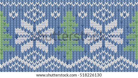 Knitted Happy New Year winter pattern with xmas tree, vector illustration