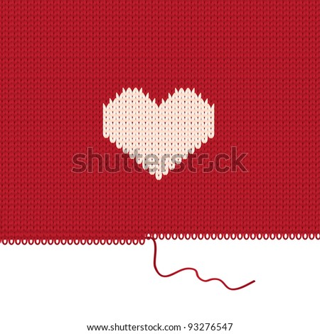 Knitted heart. Valentines day card. Vector illustration - stock vector