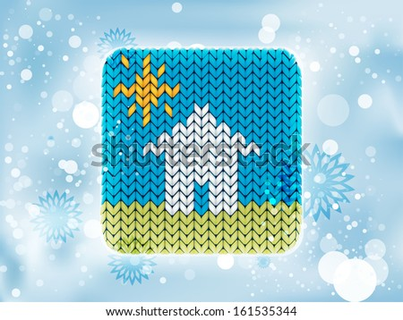 Knitted house icon in the sunlight - stock vector