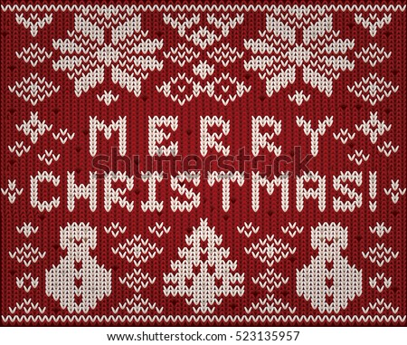 Knitted Merry Christmas wallpaper, vector illustration