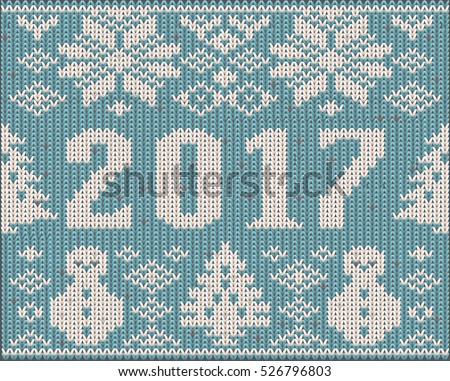 Knitted new 2017 year card, vector illustration