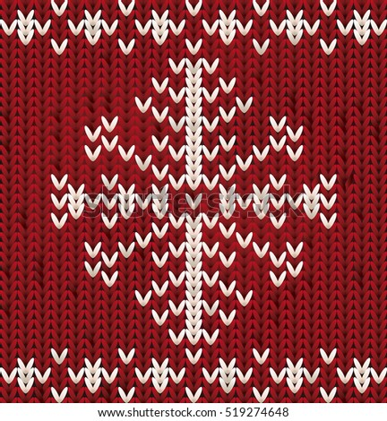 Knitted New Year pattern with xmas snowflake, vector illustration