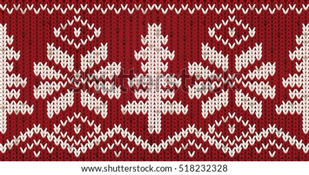 Knitted New Year pattern with xmas tree and snowflakes, vector illustration