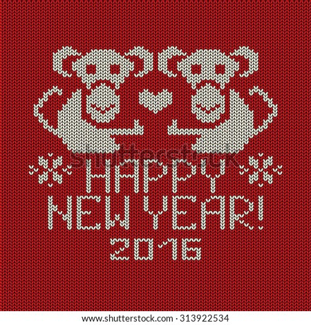 Knitted pattern card with funny monkey. Chinese zodiac symbol of New Year 2016. - stock vector