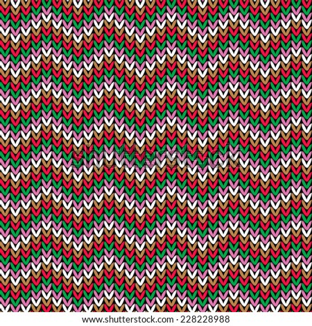 Knitted pattern. Christmas theme, seamless vector. - stock vector