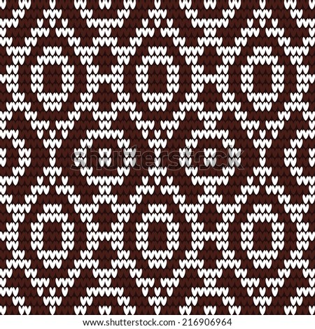 knitted pattern. Knitted vector seamless delicate pattern with simple ethnicity motif - stock vector