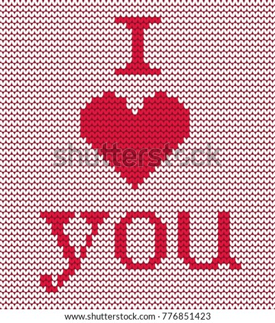 Knitted Pattern Red Heart Text I Stock Photo Photo Vector