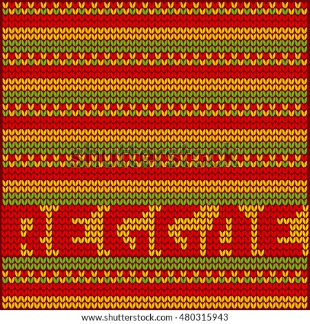 knitted pattern reggae color music background. Jamaica poster vector illustration