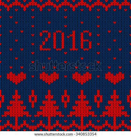 Knitted pattern. Seamless. Christmas. 2016 New Year. Vector illustration for winter holiday. - stock vector