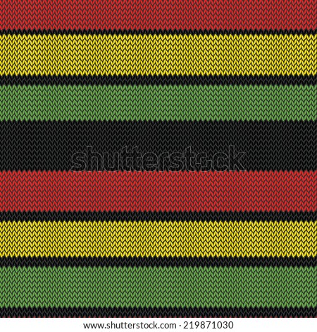 knitted rastafarian stripes multi colored seamless pattern  - stock vector