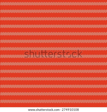 Knitted red background. Vector illustration - stock vector