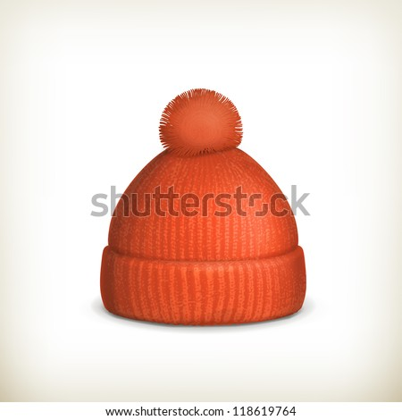 Knitted red cap, vector - stock vector
