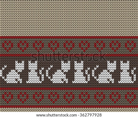 Knitted seamless border cats
