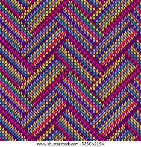 Knitted Seamless Colorful Ornamental Striped Pattern