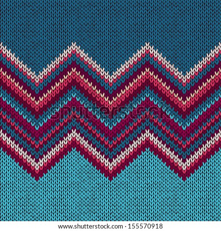 Knitted Seamless Fabric Pattern, Beautiful Blue Red Pink Knit Texture - stock vector
