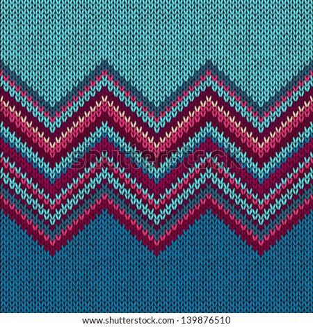 Knitted Seamless Fabric Pattern, Beautiful  Red Pink Knit Texture - stock vector