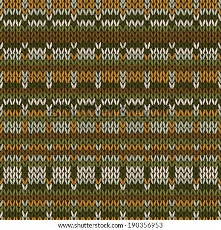 Knitted Seamless Green Brown Yellow Color Pattern