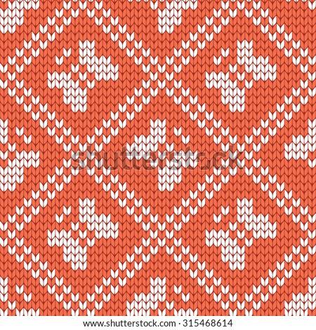 knitted seamless pattern butterflies - stock vector