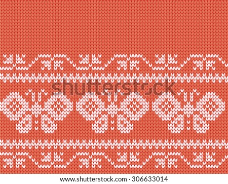 knitted seamless pattern butterfly strip - stock vector