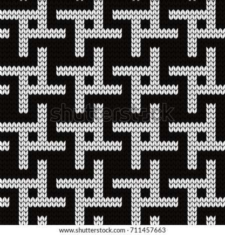 Knitted Seamless Pattern Houndstooth Variation Stock Vector Royalty