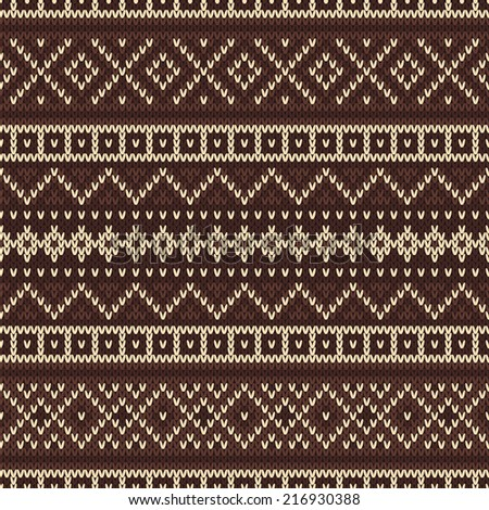 Knitted seamless pattern in Fair Isle style - stock vector