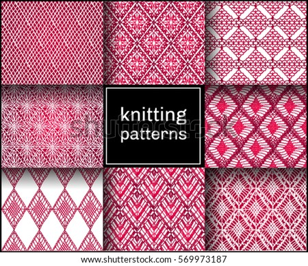 Crochet Stitches Vector : Knitted seamless patterns. Crochet mesh. Knitting or woven macrame in ...
