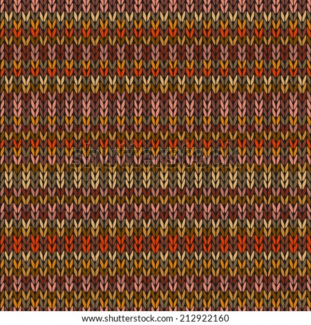 Knitted Seamless Red Orange Yellow Brown Color Striped Pattern