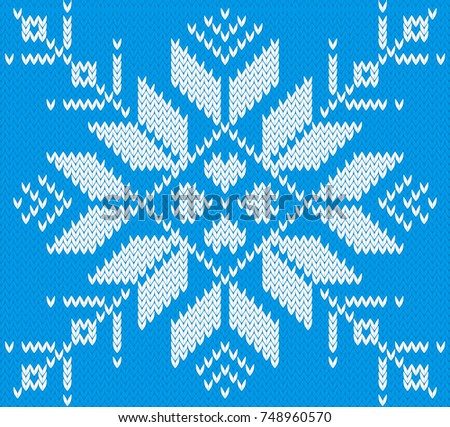 Knitted Snowflake Knitted Pattern Stock Vector Royalty Free