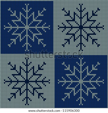 Knitted Snowflake Patterns : Stock Images similar to ID 117674638 - seamless knitted pattern with...