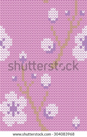 knitted spring seamless pattern - stock vector