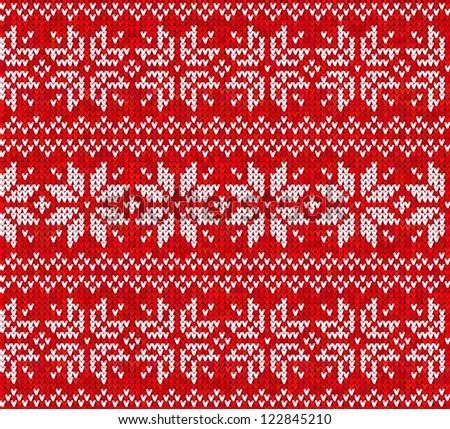 Knitted stars sweater in Norwegian style, seamless pattern - stock vector