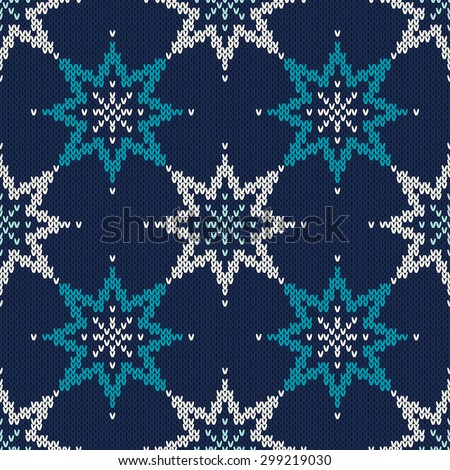 Knitted Sweater Design with Stars. Seamless Pattern - stock vector