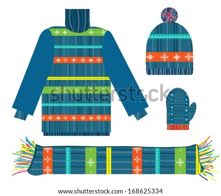 Knitted sweater, scarf, hat and gloves for Christmas collection - stock vector