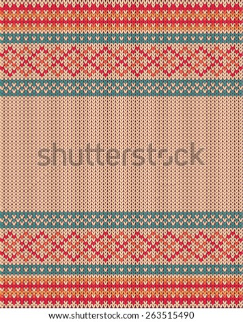 Knitted vector background pattern with wool sweater texture. Retro textile winter fabric fashion design ornament. Retro decoration illustration. Beige, red, green, blue colors. - stock vector