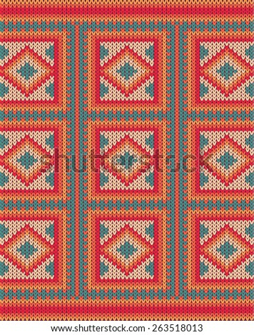 Knitted vector background pattern with wool sweater texture. Retro textile winter fabric fashion design ornament. Retro decoration illustration. Beige, red, green, blue colors.
