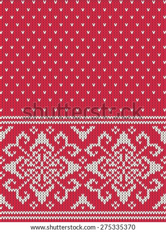 Knitted vector background pattern with wool sweater texture. Retro textile winter fabric fashion design ornament. Retro decoration illustration. Beige, red, white colors. Curls, flowers - stock vector