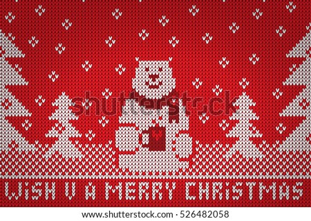 Knitted white bear wish u a merry christmas vector