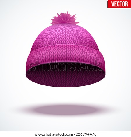 Knitted woolen cap. Winter seasonal pink hat. Vector illustration isolated on white background. - stock vector