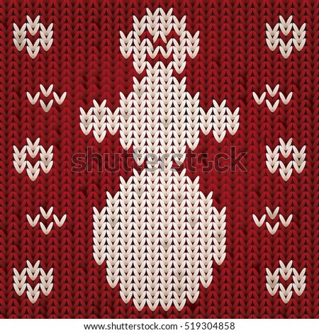 Knitted xmas snowman, vector illustration